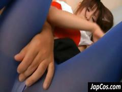 Asian cheerleader in blue tights gets banged from behind and jerks him off
