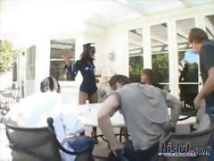 Four horny white guys unload and drain their balls on an ebony's face