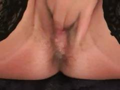Nasty mature blonde bitch makes herself a creamy cum drink from her own pussy