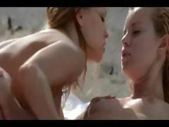 Sexy blonde babes Leila and Carmen take a vacation to the beach and find a cock to fuck