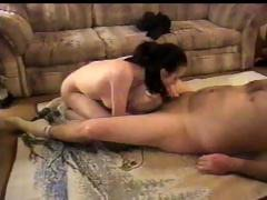 Petite brunette nympho sucks, rides and fucks her man's cock