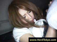 Sexy Japanese gal gets her nipples licked and her twat fingered in the car