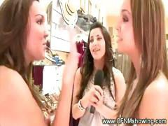 Shocked girls watch blowjob from store owner