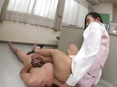 Horny Japanese office slut teases and sits on a man's face