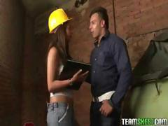Brunette engineer Laura Arce takes off the hardhat and puts in his hard cock