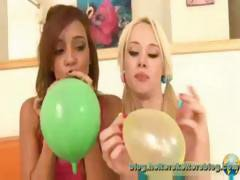 Sweet young Melanie Rios and Rebecca Blue blow up balloons then blow up his cock