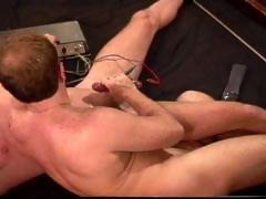 CBT Electro muscle stud bottom drips precum as I turn up the juice to his balls.