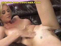 Blonde cougar gets a big black cock to suck and impale her pussy