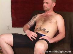 Big manly red str8 bruiser with big cock jacks off and tells me all about his pussy sex.