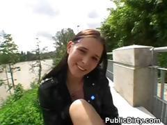 Brunette Flashes And Sucks Dick Outdoors In Public