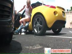 Blond dude gets ass fucked in car part4