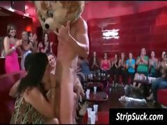 Wild girl's party with this stripper getting his cock licked and gives facial
