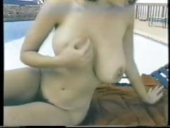 Busty brunette Christy Canyon has a group sex orgy with other babes