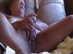 Big chubby mature uses a dildo and vibrator to masturbate with
