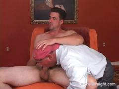 Straight former Navy man with a monster cock returns for another blow session.