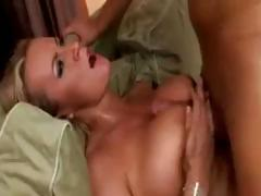 Sexy busty blonde MILF rides a hard cock and gets pumped hard