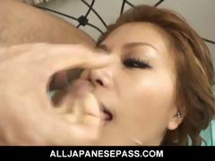 Lovely Japanese girl Akane Hotaru takes two cocks at the same time.