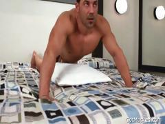 Meaty muscled gay guy beating off part2